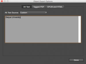 Screenshot of entering alt text in the Object Export Options dialog