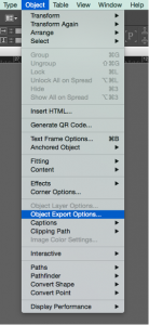 Screenshot of selecting Object Export Options in the Object menu