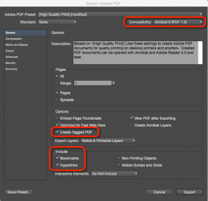 Screenshot of the PDF print options