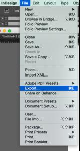 Screenshot of the export menu option