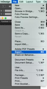 Screenshot of the export menu option1