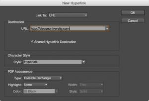 Screenshot of the hyperlink options