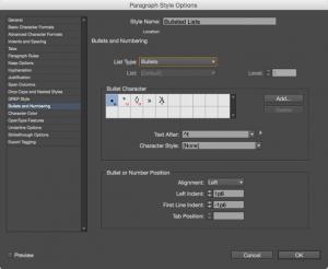 Screenshot of the list styling options