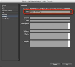 Screenshot of the metadata settings