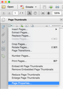 Screenshot of the page properties option