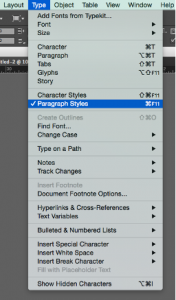 Screenshot of the paragraph styles menu option