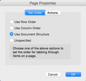 Screenshot of the tab order options