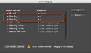Screenshot showing the Word styles mapped to InDesign styles