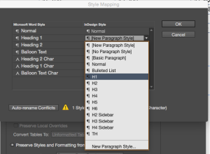 Screenshot showing the drop-down list of InDesign styles for a document