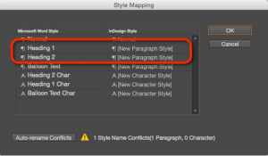 Screenshot showing the style mapping dialog